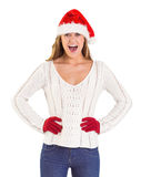 Festive blonde shouting at camera Stock Images