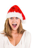 Festive blonde shouting at camera Stock Image