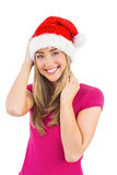 Festive blonde smiling at camera Royalty Free Stock Images