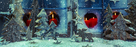 Festive Blue And Red Christmas Decoration With Candles And Handm Stock Image