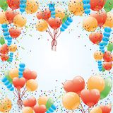 Balloons and confetti. Stock Images