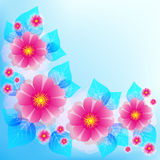 Festive blue background with pink flowers and leaves Stock Photos