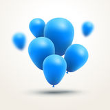 Festive blue Balloons realistic. Vector composition of bunch blue baloons Royalty Free Stock Photography