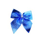 Festive blue bow made of ribbon. Royalty Free Stock Photography