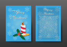 Festive Blue Christmas Brochure , Greeting Card , Template. Royalty Free Stock Image