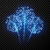 Festive blue firework background. Vector illustration Royalty Free Stock Photos