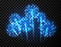Festive blue firework background. Vector illustration Stock Image