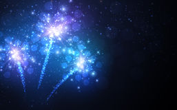 Festive blue firework background. Vector illustration Stock Photo