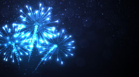 Festive blue firework background. Vector illustration Royalty Free Stock Images