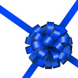 Festive blue ribbon and bow. Isolated on white background Stock Images