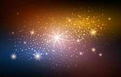 Festive blur gold space background. Festive blur gold and blue space background with blurry lights and soft glitter sparks vector illustration Stock Images