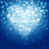 Festive blurred blue background with bokeh. Festive blurred blue, background with bokeh form a heart. Happy Valentines Day card or Invitation. Vector Royalty Free Stock Images