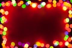 Festive bokeh lights frame Stock Photo