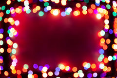 Festive bokeh lights frame. With copy-space for your text Stock Image