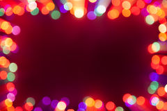 Festive bokeh lights frame Stock Photos