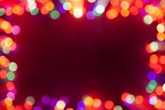 Festive bokeh lights frame Stock Photos