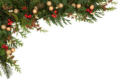 Festive Border. Christmas seasonal  border of holly, ivy, mistletoe, cedar leaf sprigs with pine cones and gold baubles over white background Stock Image