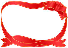 Festive border with red ribbon Royalty Free Stock Photography