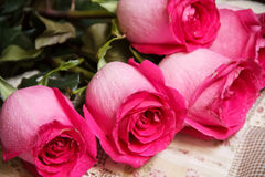 Festive bouquet of crimson roses lying on a light background Royalty Free Stock Images