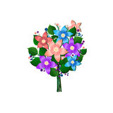 Festive bouquet of flowers beautiful vector on white.  Royalty Free Stock Photos