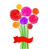 Festive bouquet of flowers with red ribbon. Vector illustration. Festive bouquet of flowers with red ribbon, colorful roses. Vector illustration stock illustration