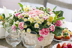 Festive bouquet of flowers on the table Royalty Free Stock Photos