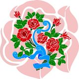 Festive bouquet of red roses with blue ribbon stock illustration