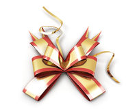 Festive bow on the package. On white background Stock Photo