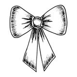 Festive bow with ribbon sketch monochrome. isolated on white bac. Festive bow with ribbon sketch monochrome Royalty Free Stock Photo