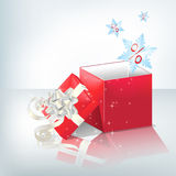 Festive box. Festive red box with light silver bow Stock Photo