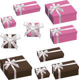 Festive box with a bow set Royalty Free Stock Images