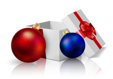 Festive box and Christmas balls. Vector art illustration New Year Stock Image