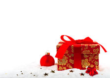 Festive box with a Christmas present Stock Images