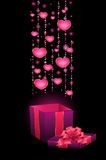festive box with hearts Stock Photography