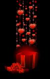 Festive box with hearts Royalty Free Stock Photos