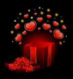 Festive box with hearts. On the day of Valentine Royalty Free Stock Images