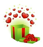 Festive box with hearts. On the day of Valentine Stock Photo
