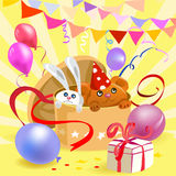 Festive box with toys and balls. Gift box with toys and balls. vector illustration Stock Images
