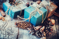 Free Festive Boxes Decorated With Natural Decor. Toned Image Stock Photos - 62476773