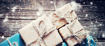 Festive Boxes with Linen Cord. Format for Web Design Royalty Free Stock Photography