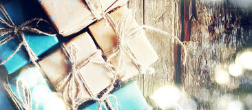 Festive Boxes with Linen Cord. Shining Boke. Format for Web Design Stock Photography