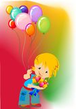 Festive boy,. The composition of a boy who is holding flowers and balloons Stock Photography