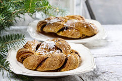 Festive braided bread on wooden table Royalty Free Stock Photography