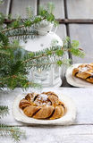 Festive braided bread on wooden table Royalty Free Stock Images