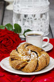 Festive braided bread on wooden table Royalty Free Stock Photo