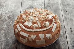 Festive bread. Festive bakery Holiday Bread on wooden background Royalty Free Stock Image