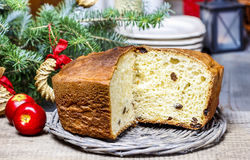 Festive bread on christmas table Royalty Free Stock Image