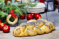 Festive bread on christmas table. Festive decoration Royalty Free Stock Photography