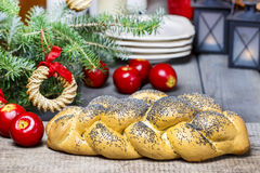 Festive bread on christmas table Royalty Free Stock Photos