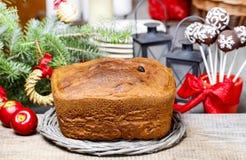 Festive bread on christmas table Stock Photos